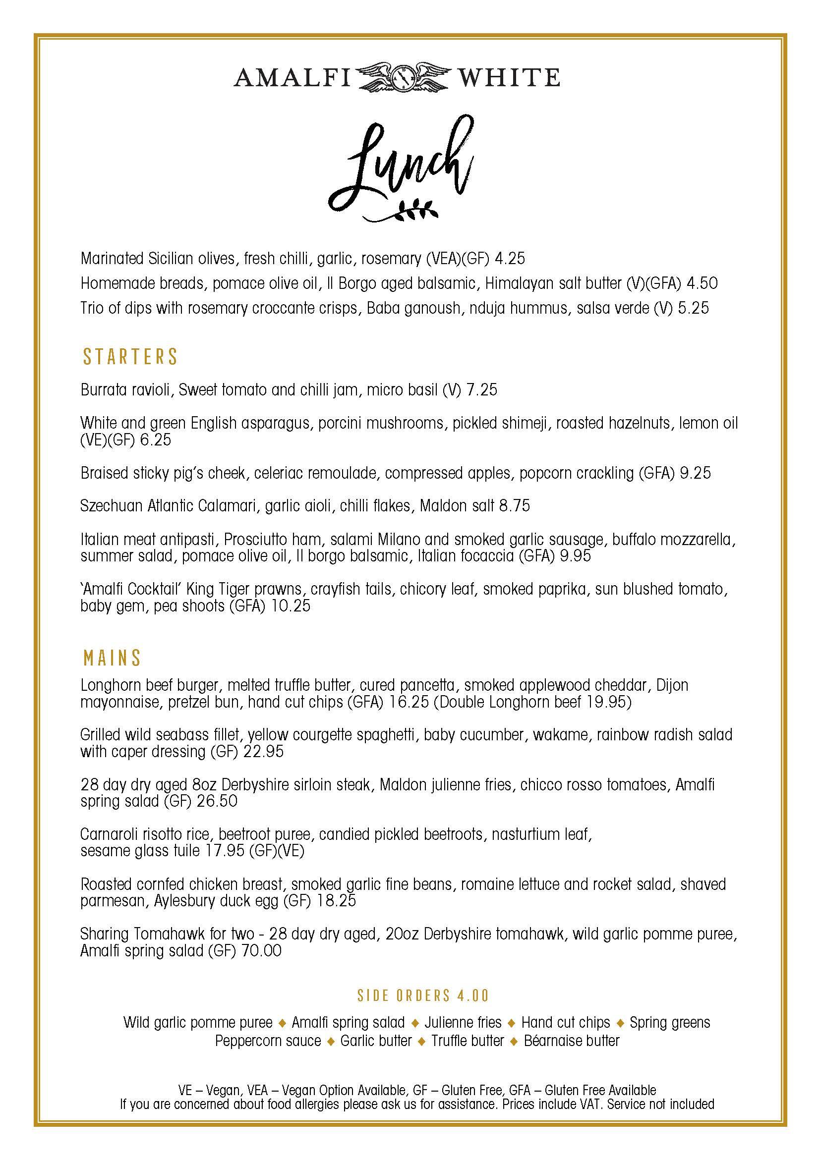 amalfi lunch menu spring 2021