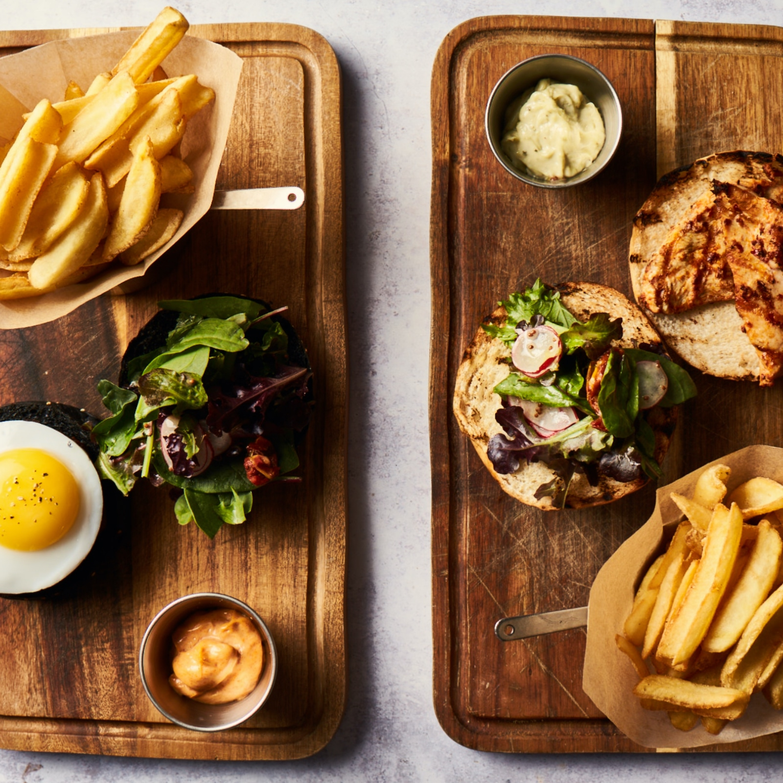 Fine dining burger and chips
